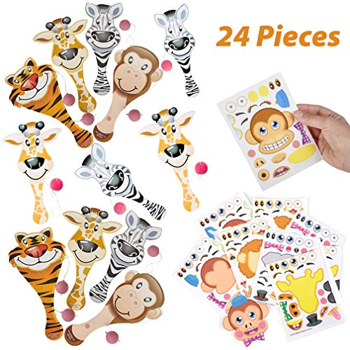 - Zoo Animal Paddle Ball Game and Zoo Stickers - 24 Piece Set | Jungle and Zoo Party Favors | Zoo Goody Bags for Boys and Girls | Novelty Toys and Items - Birthday Party Supplies