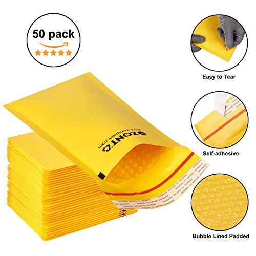 Zont Pack Golden Kraft Bubble Mailers, Self-adhesive Strip Envelope Mailers, Bubble Lined Padded Envelopes With Easy Tear Strip, Lightweight Mailing Envelopes, Box of 50 (4 x 8 inches)