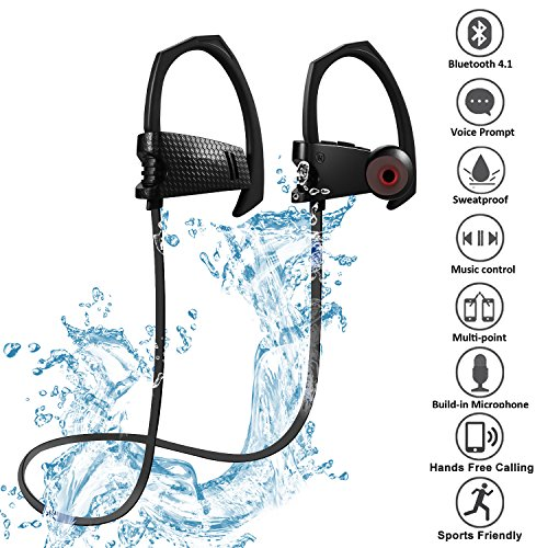 Price comparison product image Bluetooth Headphones, Greatever Q10 Wireless Workout 4.1 Best Sport Headphones In Ear Earbuds Stereo Sweatproof Running Earphones Headset with Microphone Noise Cancelling