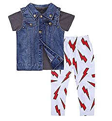 StylesILove Baby Boy Chic T-shirt, Denim Vest and Lightning Pants 3-pc (2-3 Years)