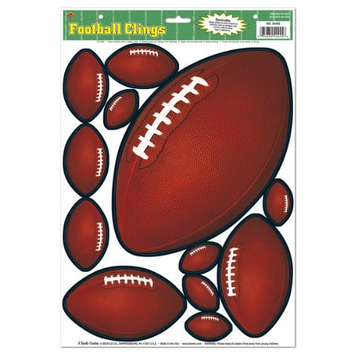 Beistle 54445 12-Clings Per Sheet Football Clings for Parties, 12 by 17-Inch (Football Pep Rally)