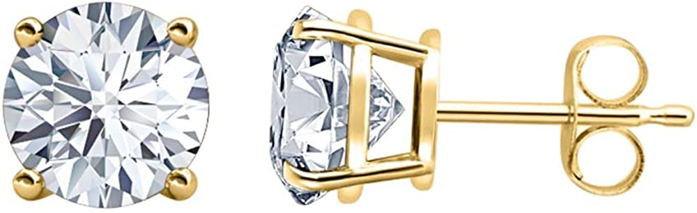 Solitaire Stud Earrings 14K Yellow Gold Over .925 Sterling Silver tusakha 4.00 CT Round Cut Diamond 8MM