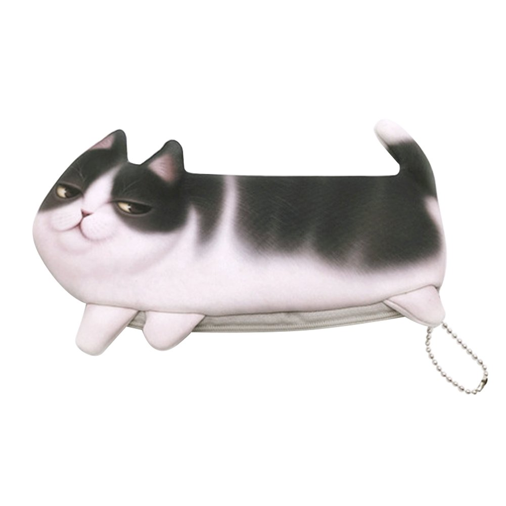 Naovio 3D Cute Cat Pencil Case Holder Large Capacity Cosmetic Bag Coin Purse Stationery Case