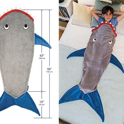 【丹尔蔓蒂】エアコン毛布 子供のサメの毛布グレー&深い青色キルトの寝袋