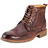 rismart Men's Ankle High Wingtips Round Toe Laces Brogues Leather Dress Oxford Boots SN010513(Brown,10 D(M) US)