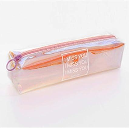 Estuche transparente con purpurina para lápices, estuche de lápices de PVC, suministros para estudiantes, regalo Kawaii, 20 x 5,5 x 4,5 cm: Amazon.es: Oficina y papelería