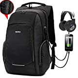 ZZRS Business Laptop Backpack of Anti-theft Lock Waterproof Outdoor Bag with USB Charging Port fit 15.6inch Laptop Grey & Black