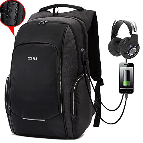 ZZRS Business Laptop Backpack of Anti-theft Lock Waterproof Outdoor Bag with USB Charging Port fit 15.6inch Laptop Grey & Black by ZZRS