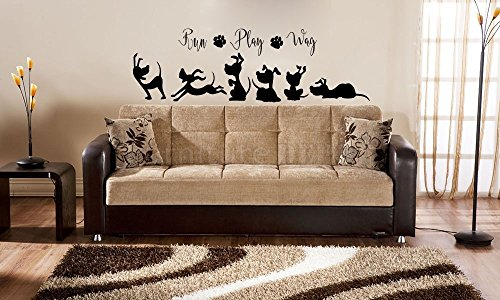 Run Play Wag with Dog Silhouettes Vinyl Wall Words Decal Sticker Graphic