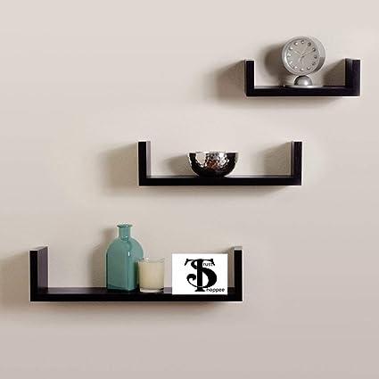 4335906f28 Trustshoppee Wooden Black U Shape Floating Wall Rack Shelves Set of 3 Black  MDF Wall Shelf: Amazon.in: Home & Kitchen