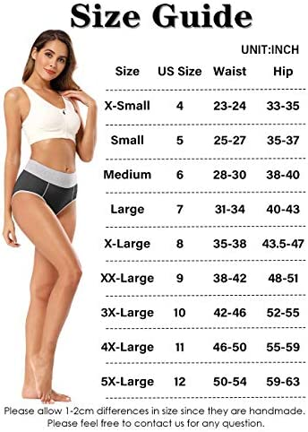 POKARLA Women's High Waisted Cotton Underwear Soft Breathable Panties Stretch Briefs 5-Pack
