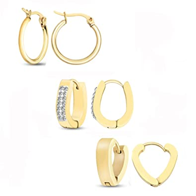 c9819bf59 Gorgeouser Small Gold Hoop Earrings,8MM CZ Oval Earrings 9MM Heart Shape  Earrings and 15MM
