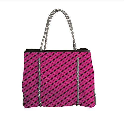 iPrint Neoprene Multipurpose Beach Bag Tote Bags,Hot Pink,Diagonal Lines Black Stripes on Pink Backdrop Classical Modern Tile Pattern,Hot Pink Black,Women Casual Handbag Tote Bags