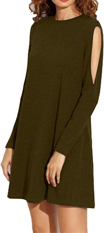 Vestidos De Camisa Mujer Elegante Cortos Color Sólido Otoño ...
