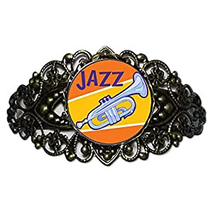 Chicforest Bronze Retro Style Music Jazz Instrument Flower Cuff Bracelet Bracelets