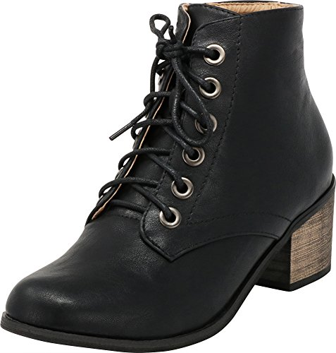 Cambridge Select Women's Closed Round Toe Lace Up Chunky Stacked Block Heel Ankle Bootie (8 B(M) US, Black PU)