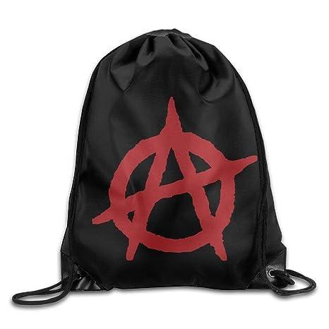 Amazon.com | Bnialaed Anarchist Flag Print Drawstring ...