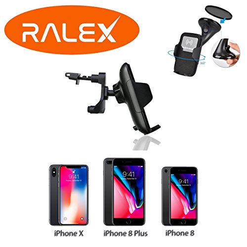 Wireless Car Charger Premium Kit for Iphone 8, 8 Plus, iPhone X and QI compatible devices, With Vent Clip and Suction Cup
