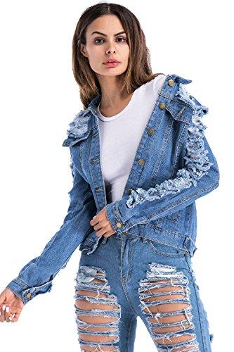Autunno Fasumava BudWVKGnV3Kd Strappati Blu Le Jeans Giacche Taglia Di Donne Si Outwear rEfqwrv