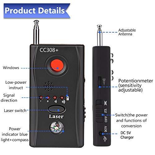 Anti Spy Hidden Camera Detector, Wireless RF Signal Bug Detector Laser Lens GSM Tracking Device Finder for Spy Scanner Radio Wireless Audio Bug Hidden Camera Detector