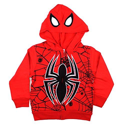 KIDS COMIC SUPERHERO ZIP-UP FLEECE W COSTUME HOODIE (5, Spiderman Red)