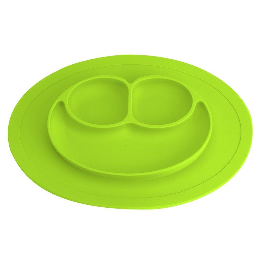 Platos de Silicona Alimentaria de Buena Calidad para Bebé y Niño Vajilla Placa Antideslizante con Compartimientos M Verde Rocita