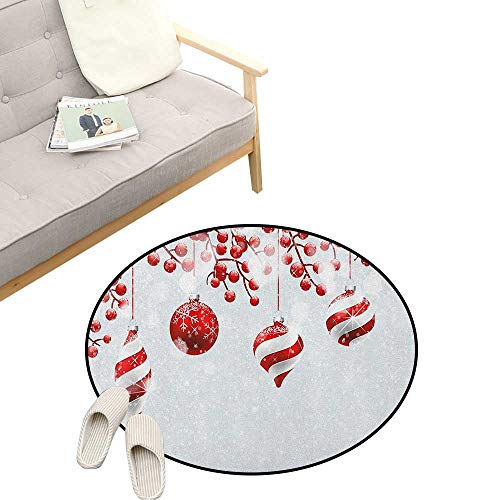 Christmas Round Rug Living Room ,Traditional Design Icons Holly Berry Branches with Snow and Bokeh Effect Print, Bedrooms Laundry Room Decor 47