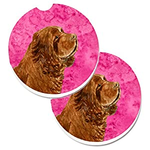 Caroline's Treasures SS4786-PKCARC Pink Sussex Spaniel Set of 2 Cup Holder Car Coasters, Large, multicolor 16