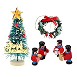 Prettyia Miniature Christmas Tree Garland Wreath Royal Military Band Statue Kits Toy for 1/12 Dollhouse Festival Accessory Xmas Party Decoration