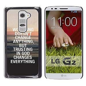 Paccase / SLIM PC / Aliminium Casa Carcasa Funda Case Cover para - BIBLE Trust In God Changes Everything - LG G2 D800 D802 D802TA D803 VS980 LS980