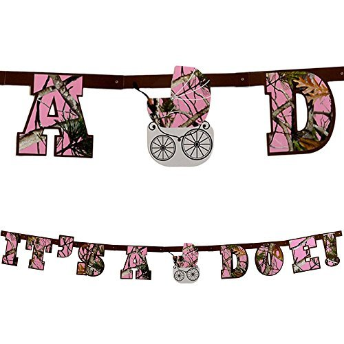 Havercamp Baby Girl Camo Banner (It's a Doe, 7 1/2 Feet Long, 7 Inch Letters) Gender Reveal Party Collection ()