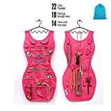 Glovion Fashionable Jewelry Hanging Organizers Holder Changeable Sexy Dresser Jewelry Pouch Bracelets Necklace Display for Lady Gifts (Gift Bag Included) (Pink)
