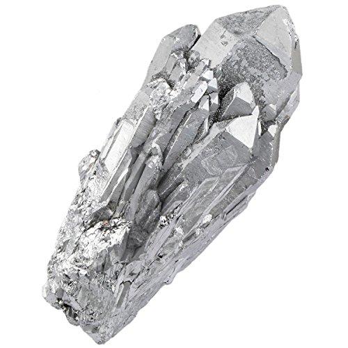 rockcloud Natural Titanium Coated Silver Flame Aura Raw Crystal Quartz Point Cluster Geode Druzy Gemstone Specimen Bar Shape
