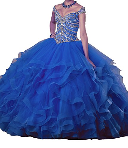 Gown Quinceanera New (PuTao Women's Beaded Ruffled Lady Prom Gowns Sweet 15 Quinceanera Dresses 18 US Royal Blue)