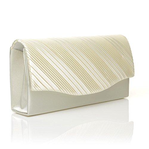 Over Size Clutch DINKY Bag Fold Ivory Pleated Small Satin wnzYqtB