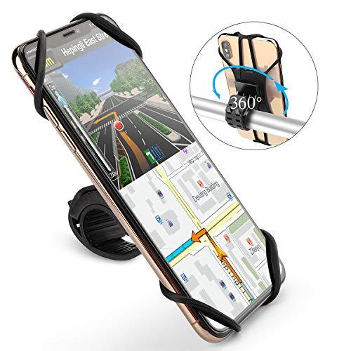 OMOTON Detachable Bike Phone Mount – 360°Rotation Universal Silicone Motorcycle Handlebar Phone Mount for iPhone/Samung/Google/LG/Moto