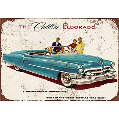Florlife Retro Tin Signs Vintage Old Metal Signs Classic Cars Cadillac Wall Decor 20x30 cm