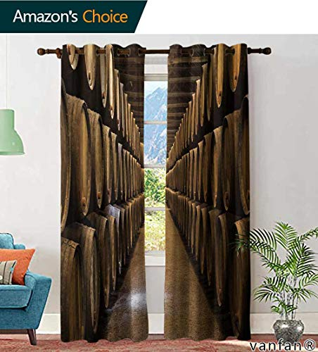 (LQQBSTORAGE Custom Pattern Curtains Blackout 2 Panels Barrels in The Wine Cellar Porto Portugal, Curtains for Boys Room, W108 x L108 Inch, (2 Panels))