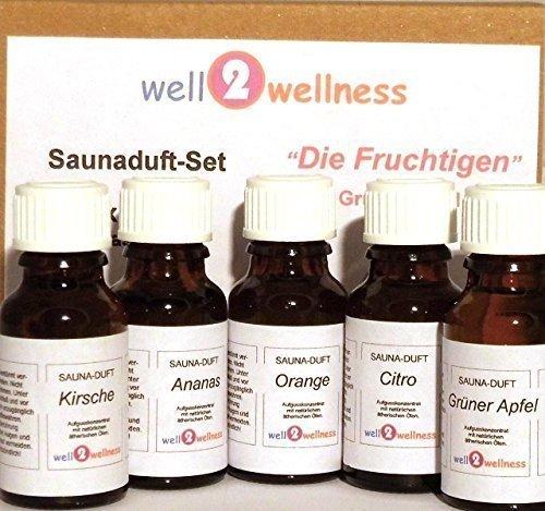 Essenza per sauna / Fragranza di sauna Set 'frutto' con 5 x 15 ml Bottiglie [Pool] + Sauna BRÄUNIG GmbH