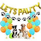 Dog Party Decorations - Lets Pawty Balloons Banner, Paw Bandana Scarf and Garland, 30pcs Light Blue Fruit Green Orange Latex Balloons for Pet Dog Puppy Birthday Supplies