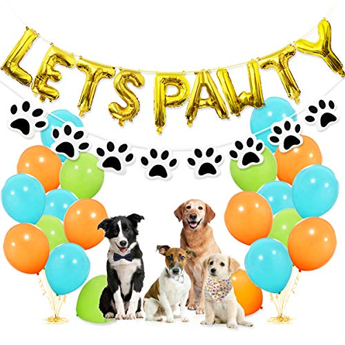 Dog Party Decorations - Lets Pawty Balloons Banner, Paw Bandana Scarf and Garland, 30pcs Light Blue Fruit Green Orange Latex Balloons for Pet Dog Puppy Birthday Supplies -