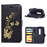 MOONCASE Moto G (3rd Gen) Case, Bronzing Butterfly Pu Leather Wallet Pouch Etui Flip Kickstand Case Cover for Motorola Moto G (3rd Generation) Bookstyle Folio [Shock Absorbent] TPU Case with Photo Frame Black