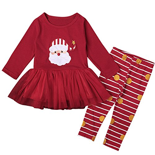 [Puseky Baby Girl Christmas Santa Claus Long Sleeve Tutu Dress Shirt+Pants Outfit (1T)] (Christmas Outfits Baby)