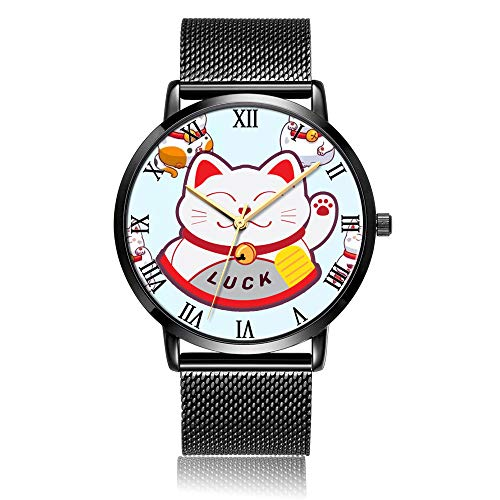 fda2c964d4e0 Whiterbunny Customized Lucky Cats Wrist Watch Unisex Analog Quartz Fashion  Black Steel Bracelet Wristwatch for Women