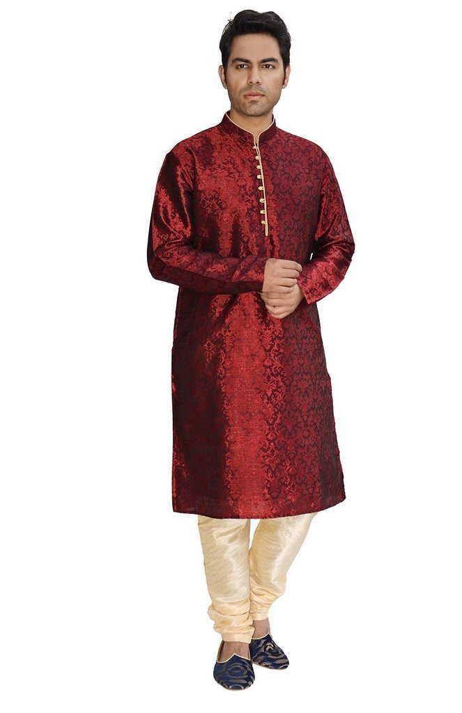 Royal Kurta Men's Jacqaurd Silk Kurta Churidar Set KELA-SILK-MAROON-38-1-$P