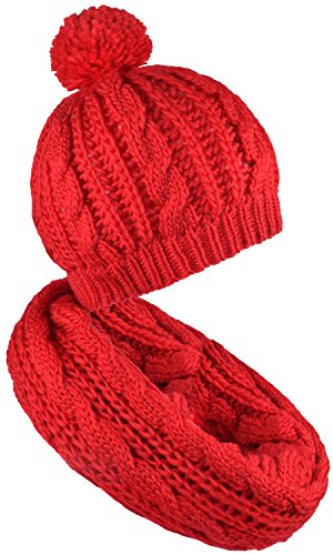Hat and Scarf Red Cable Knit Pom Beanie for Men Women Infinity Loop Scarves