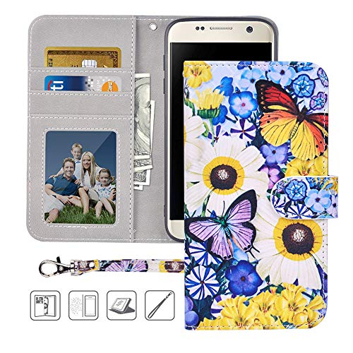Galaxy S7 Wallet Case,Galaxy S7 Case,MagicSky Premium PU Leather Flip Folio Case Cover with Wrist Strap, Card Holder,Cash Pocket,Kickstand for Samsung Galaxy S7 5.1 inch(Butterfly Over Flowers)
