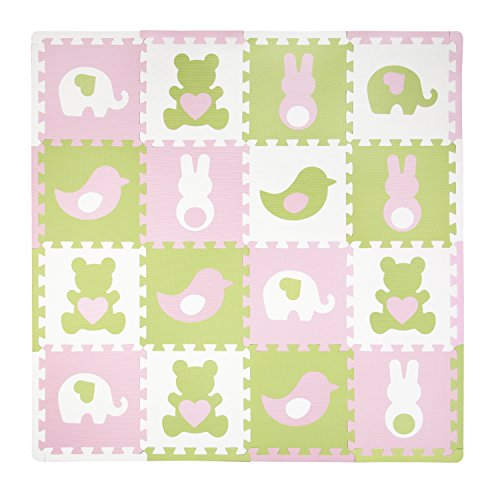 Tadpoles Baby Play Mat, Kid's Puzzle Exercise Play Mat - Soft EVA Foam Interlocking Floor Tiles, Cushioned Children's Play Mat, 16pc, Teddy and Friends, Pink, 50x50