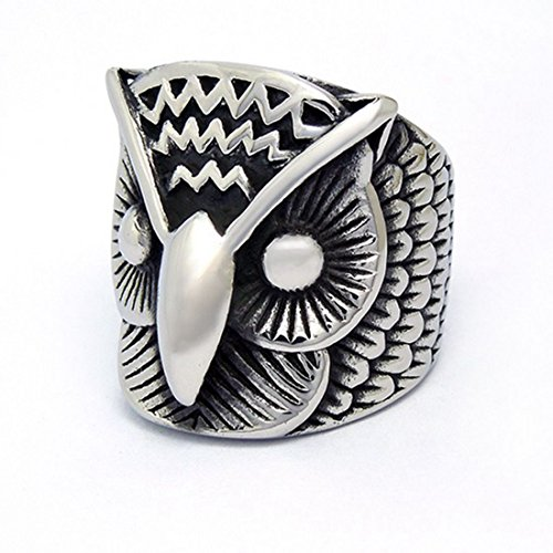 stainless steel owl ring - 4
