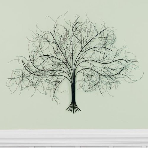 Black Tree Wall Decor Sculpture - Handcrafted Metal Art (Tree Wall Sculptures)